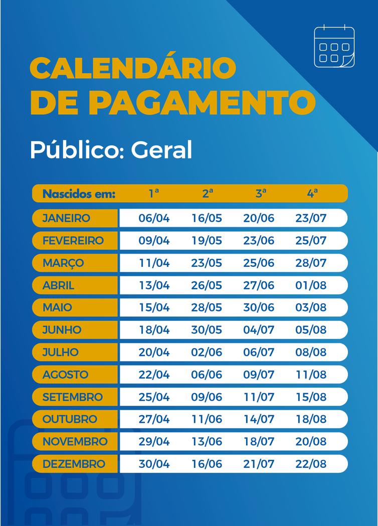 Calendário de pagamento das parcelas do auxílio emergencial. - Arte/Agência Brasil